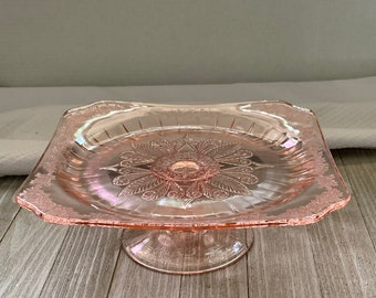Dollhouse Miniature Ruffle Edge Glass Small Cake Plate with Cover