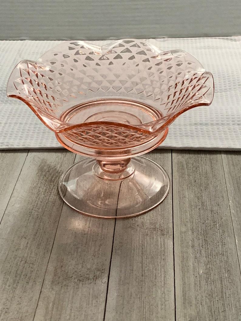 Pink Depression Ruffled Glass Bowl Pedestal Stand Pink Glass image 0