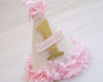 Glitter, Gold, and Pink Birthday Party Hat - tissue fringe trim, princess party, first birthday, cake smash