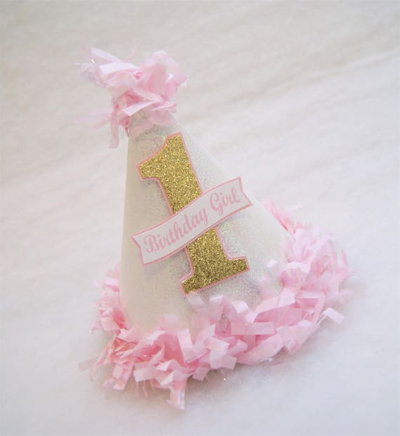 New Glitter Gold And Pink Birthday Party Hat Tissue Fringe Etsy