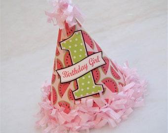 Watermelon Birthday Party Hat - Watermelon, Picnic Party, Polka Dots, Two-tti Fruitti Party, Tutti Fruitti Party