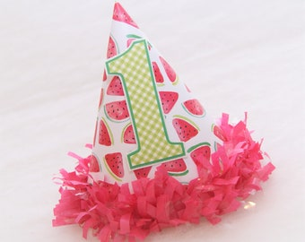 Watercolor Watermelon Birthday Party Hat - Watermelon, Picnic Party, Gingham, Two-tti Fruitti Party