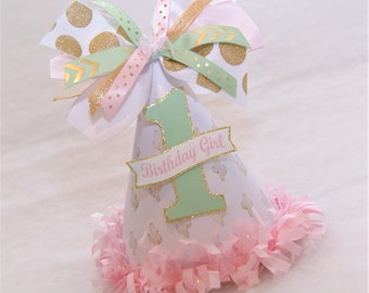 Pink, Gold, and Mint Cactus Party Hat - Cactus Birthday, Gold and Pink Party