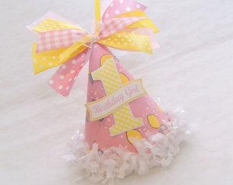 Pink Lemonade Party Hat - Lemonade stand birthday party, pink lemonade, lemons, gingham, pink and yellow party