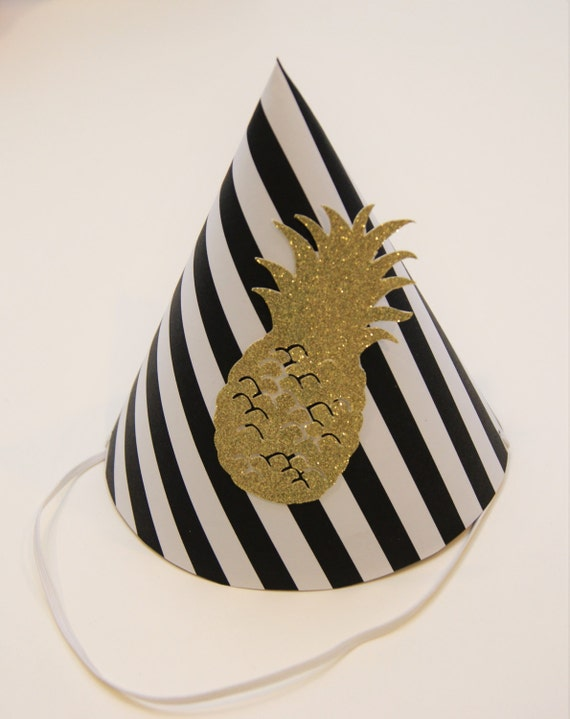 927cdcb30e68 NEW Black   White Stripe and Gold Pineapple Party Hat