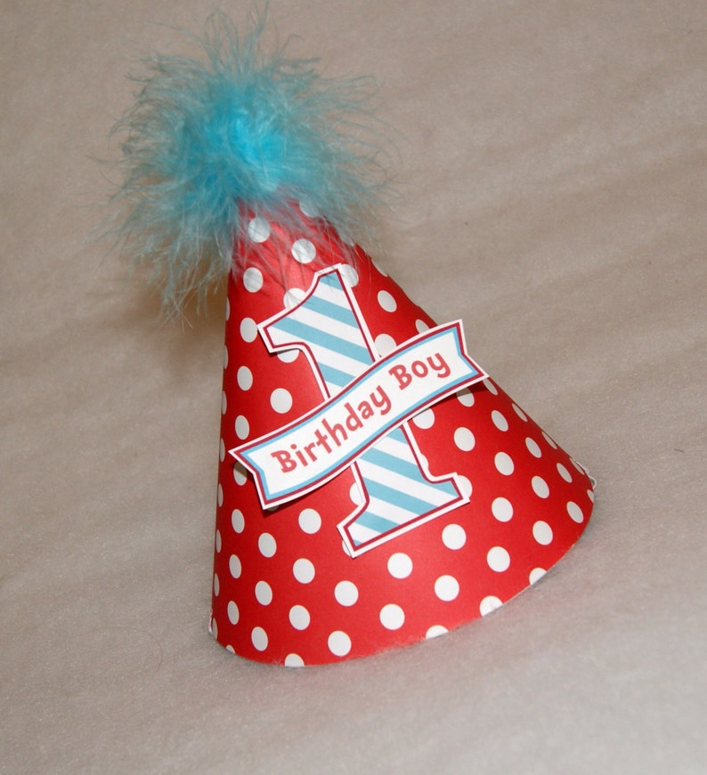 Red Dot and Turquoise Stripe Dr. Seuss Boys Birthday Party Hat image 0