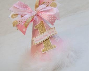 Pink and Gold Winter Onederland Birthday Party Hat - Winter Wonderland, Snowflake, Frozen, Onederland Party