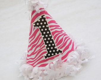 SAMPLE SALE!  Hot Pink and Black Zebra Birthday Party Hat - hot pink zebra, black and white polka dots, zebra party, jungle party