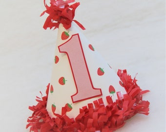 Strawberries Birthday Party Hat - strawberry shortcake birthday party, pink glitter, Two-tti Fruitti Party