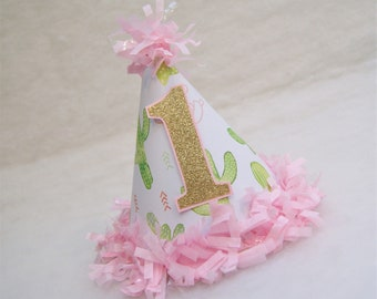 Cactus Party Hat - pink, gold, green, cactus birthday party