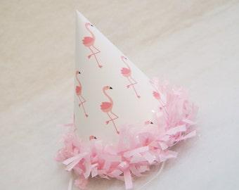 NEW Pink Flamingo Party Hat - pink tissue fringe trim, flamingo birthday party
