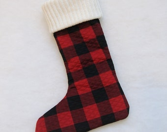 Buffalo Check Christmas Stocking with Ivory Metallic Sweater Cuff - lodge, decor, holiday decor, rustic, black red check