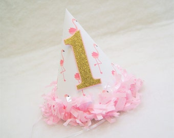 Pink Flamingo Party Hat with Gold Glitter Number - pink tissue fringe trim, flamingo birthday party, gold and pink party, lets flamingle
