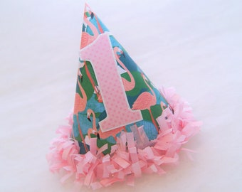 NEW Flamingo Tropical Party Hat with Pink Dot Number - pink tissue fringe trim, flamingo birthday party, lets flamingle