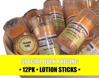 BULK Handmade Solid Lotion Sticks Special 12 pack - Buy More, Save More - price break, discounted, assorted scents, fragrances,vegan,natural