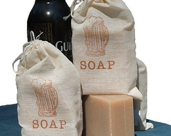 BEER Soap - Handmade Cold Process Soap Bar, made with Guinness - graduation,groomsmen,Father's Day,masculine,mens gift,for him,muslin bag