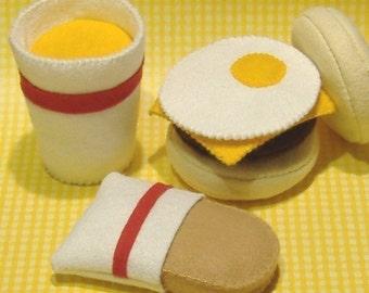 Felt Food Pattern English Muffin Breakfast Sandwich Set PDF Pattern