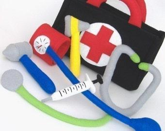 Be a Doctor Set  PDF Toy Pattern- Doctor Bag, Stethoscope, Blood Pressure Cuff, Reflex Mallet, Auriscope, Syringe