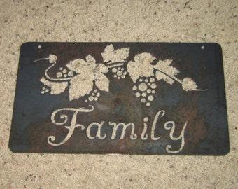 Family-Metal art-Grapevine Art-Home Decor Art