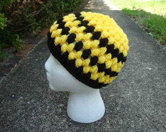 CLEARANCE- Crocheted Black and Yellow/ Bumble Bee Hat/ Beanie