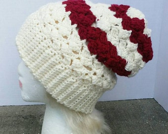 Burgundy Slouchy Hat/ Burgundy/ Tan/ Women's/ Crocheted