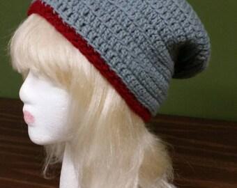 Crocheted Grey and Burgundy Slouchy Hat, Cap, Beanie
