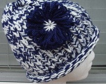 Handmade Loom Knitted Blue and Beige Hat/Cap