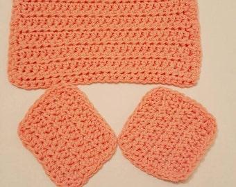 Handmade Crocheted Peach Washcloth with Scrubbies