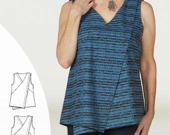 Indygo Essentials Asymmetrical Top & Tunic PDF sewing epattern - simple by design top for XS to plus size 3XL; two lengths included
