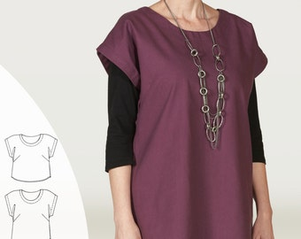 Indygo Essentials Easy Top & Tunic PDF sewing epattern - simple by design dress for XS to plus size 3XL; comes in three lengths
