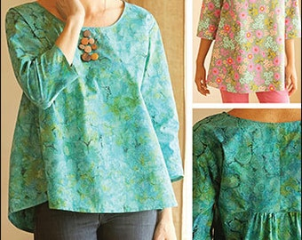 Gathered Back Top & Tunic PDF sewing epattern - easy to make blouse and tunic instructions pattern