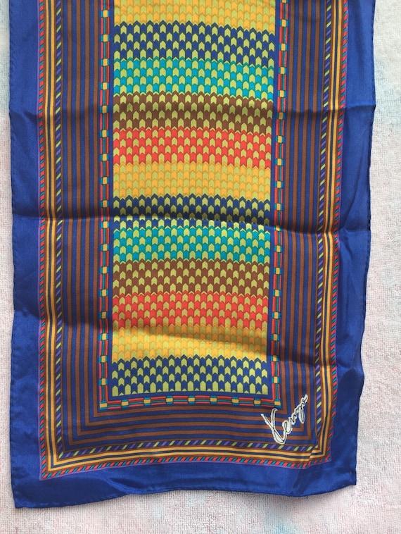 KENZO Designer, SCARF LONG Silk scarf 1970s mint,… - image 5