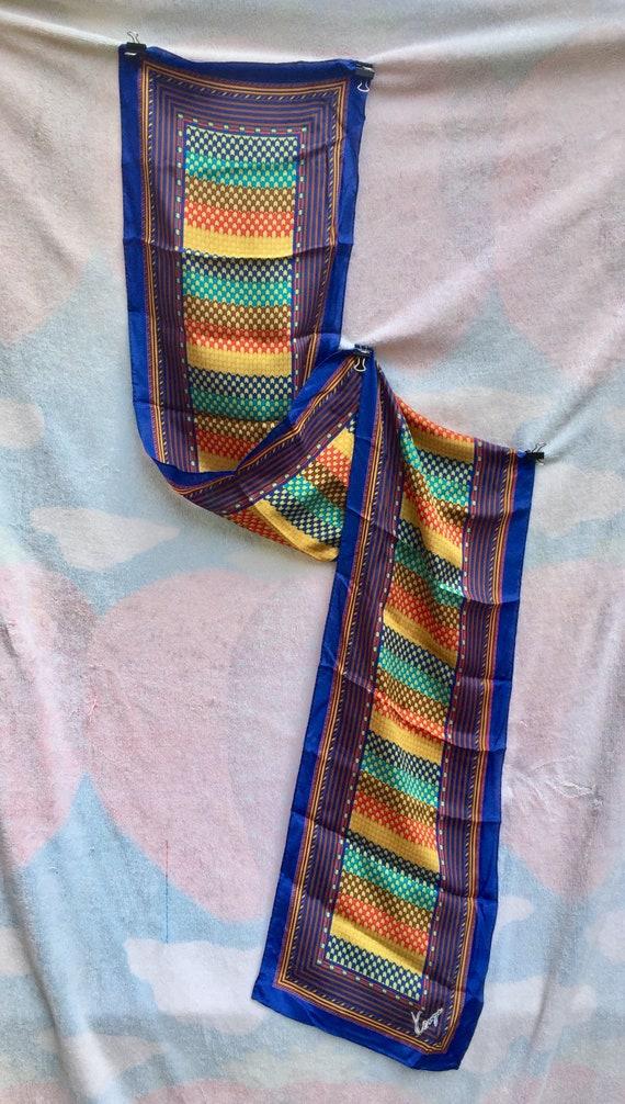 KENZO Designer, SCARF LONG Silk scarf 1970s mint,… - image 6