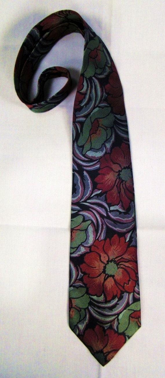 Designer Rainbow Neck TIE 1980s Wide  Silk High Sh