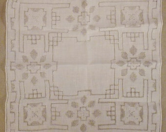 Vintage WEDDING HANKIE Linen soft Grey Hand Embroidered 12 x11 3/4  Mint condition