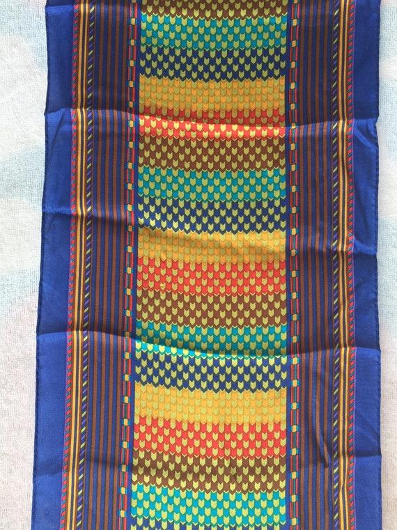 KENZO Designer, SCARF LONG Silk scarf 1970s mint,… - image 3