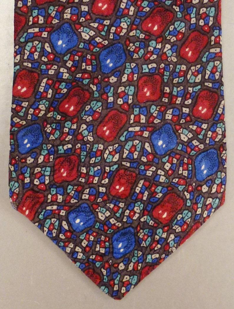 Designer Neck TIE DESIGNER JEWELS Silk handmade 1980s  Dead Stock  59 x 3plus in