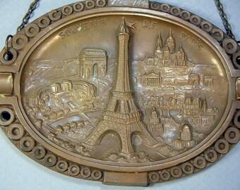 EIFFEL Tower PARIS 1944 SOUVENIR Metal Wall Plaque