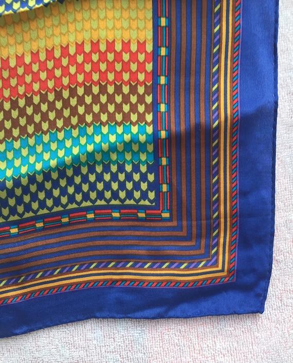 KENZO Designer, SCARF LONG Silk scarf 1970s mint,… - image 8