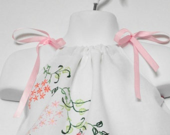 Baby Girl Pillowcase Dress. Upcycled Baby Girls Clothing. Upcycled Pillowcase Dress. Vintage Embroidery. Valentines