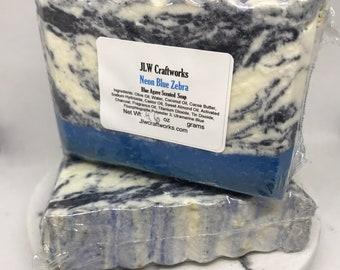 Neon Blue Zebra Cold Process CP Soap Blue Agave scent unique gift Original gift