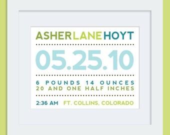 Modern Typography Birth Print - Horizontal