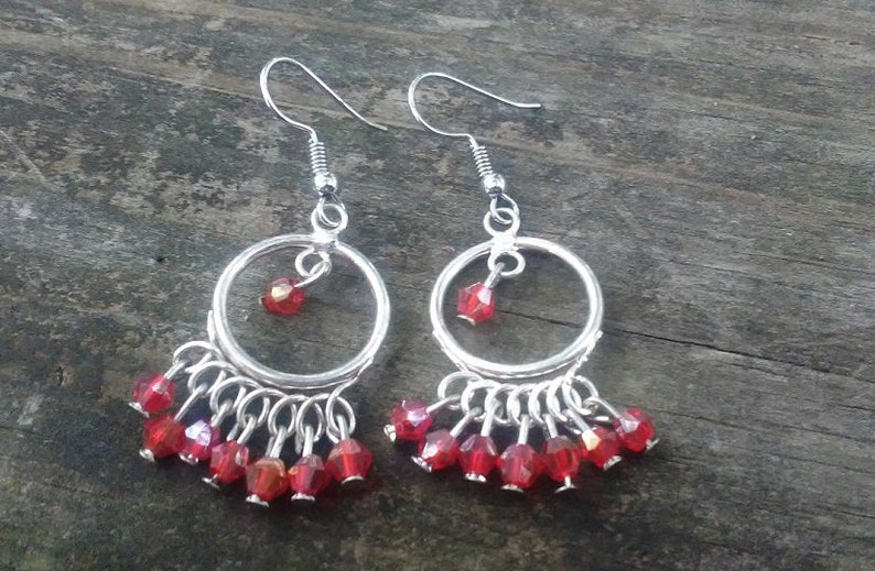 Chandelier Silver-Tone Earrings Beaded Earrings Pink Crystal image 0