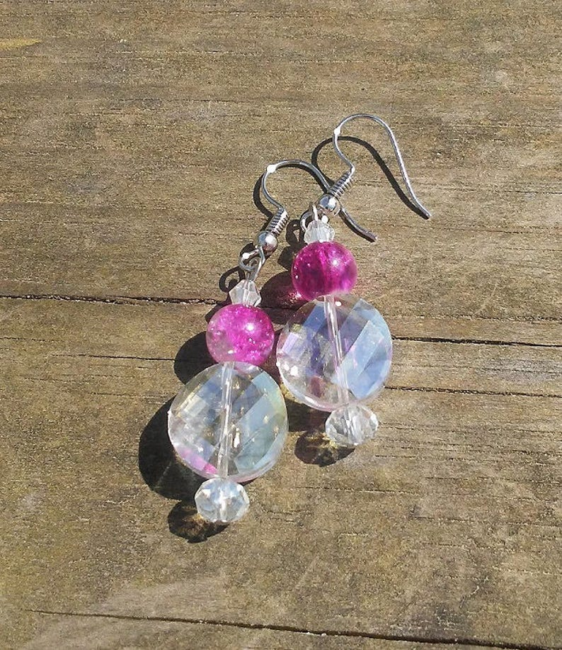 Handmade Crackle Glass Earrings Faceted Crystal Earrings image 0