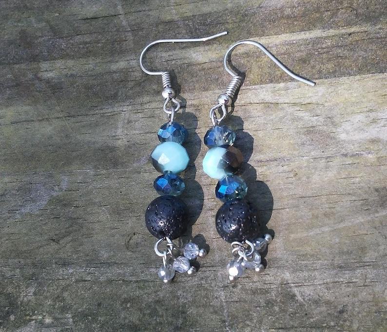 Crystal Beaded Diffuser Earrings Blue & Black Earrings Lava image 0