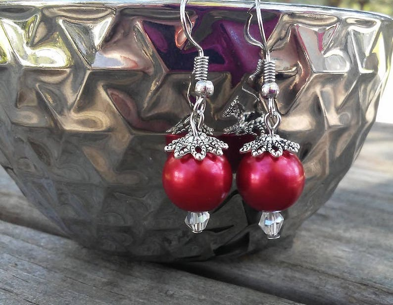 Glass Pearl Beaded Crystal Accent Earrings Boho Bead Cap image 0