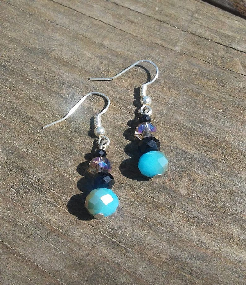 Blue and Black Faceted Crystal Beaded Earrings Birthday Gift image 0