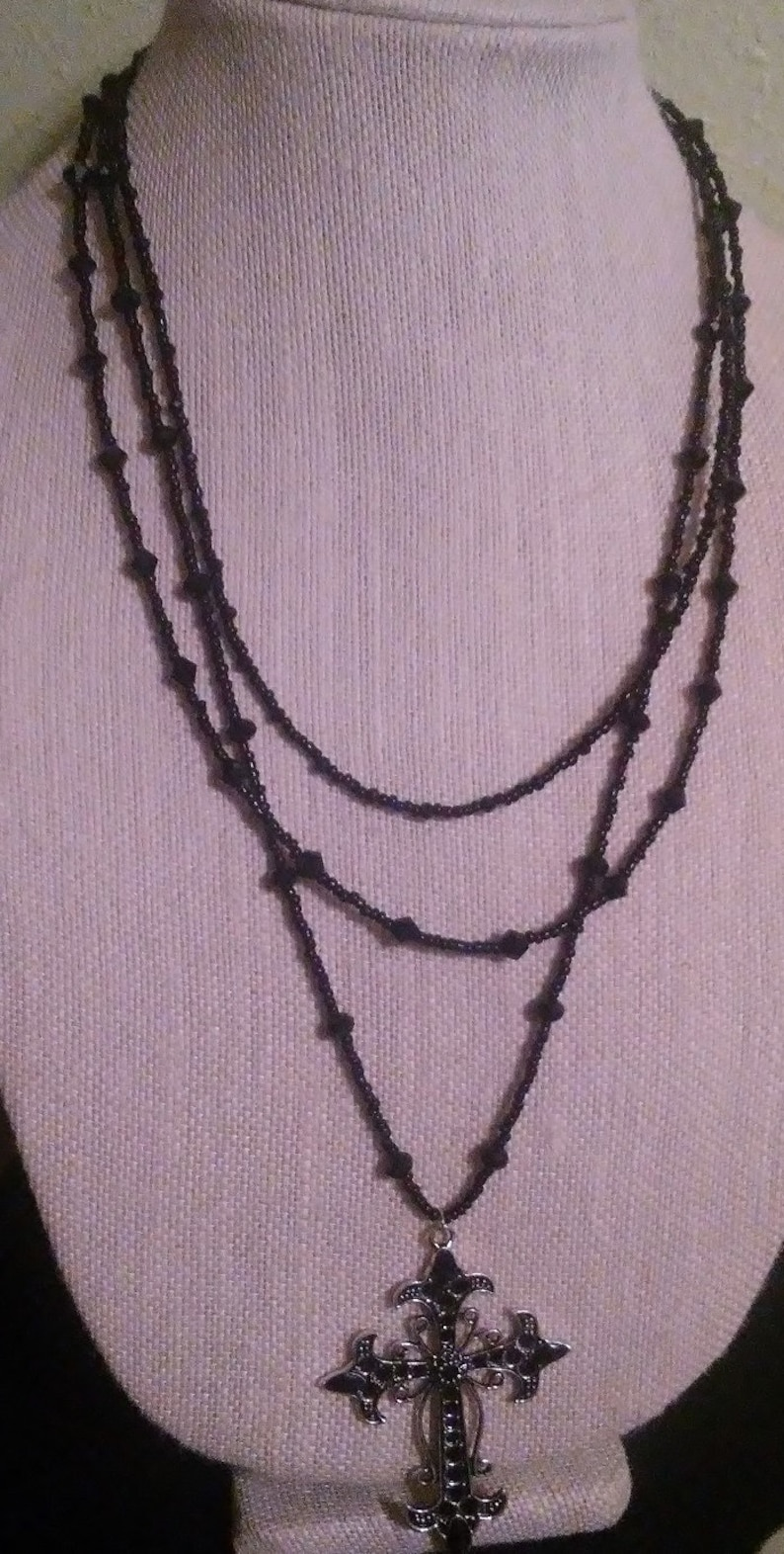Gothic Three Strand Necklace Cross Pendant Statement image 0