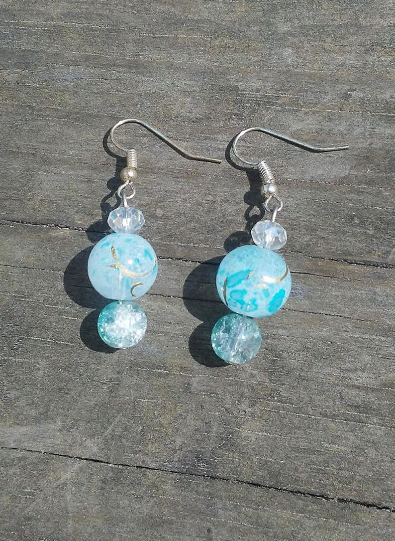 Crackle Glass Beaded Dangle Earrings Crystal Beaded Handmade image 0