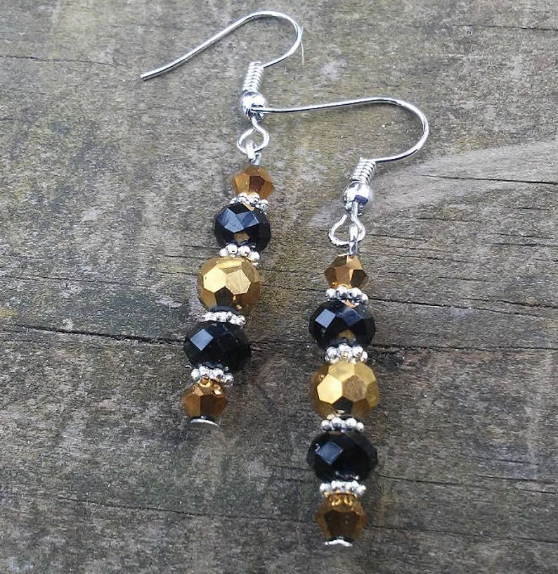 Crystal Beaded Earrings Black and Gold Earrings Dangle image 0